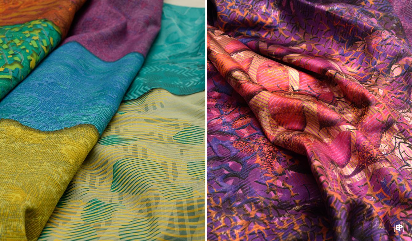 créations imprimées sur coton et sur soie