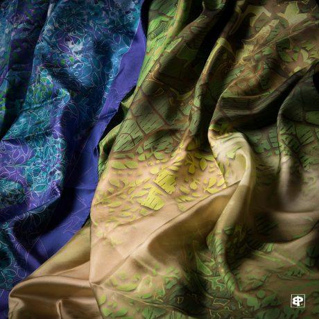 carrés de soie imprimés 100X100, créations originales
